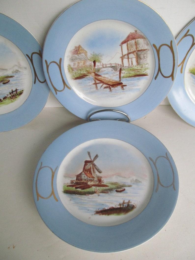 Delft Decor Holland Windmill Plates Blue and White Plates collectible Plates Holland Decor Sweden Decor Wooden Dock Stone Arch Bridge Etsy