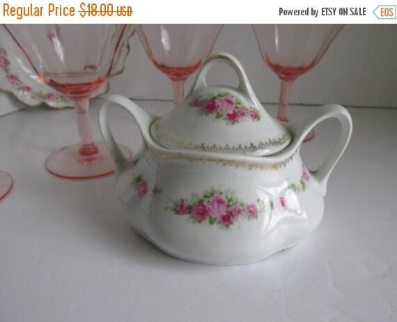Sale Antique Victorian Romantic Rose Sugar Bowl German -3783
