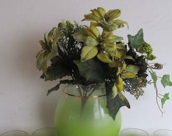 Jadeite Green Floral Bouquet Light Green Floral Bouquet of Flowers Ivy decor Light green floral arrangements Green Velvet flowers