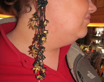 """Victorian Goth Earrings Evening Out Burlesque 7 1/2"""" EXTRA Long Dangle Earrings Beaded Earrings Statement Jewelry Designer Colleen Toland"""