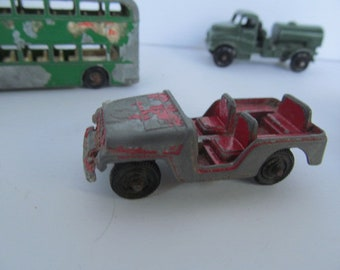 Red ARMY JEEP Tootsie Toy Cars Vintage Metal Tootsie Toy Trucks Cast Metal Cars  Tootsie Toy Truck Army Green Jeep Cake topper