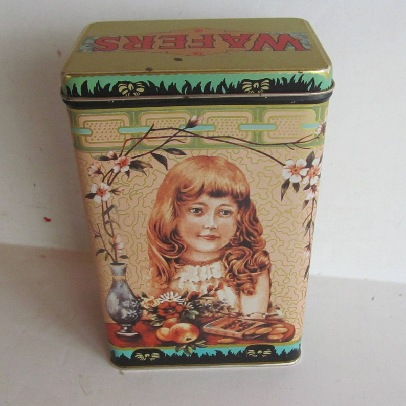 Vintage Tin Box Ginger Wafers Tin Candy Tin Container Collectible Tin Candy Store Display VICTORIAN  GIRL PORTRAIT