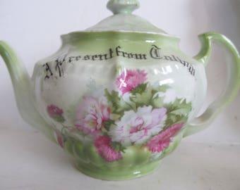 Roses Teapot Large Antique English Teapot Victorian Antique Tea Pot  Rose Pattern Antique Teapots With Roses Jadeite Green Decor Callam Name