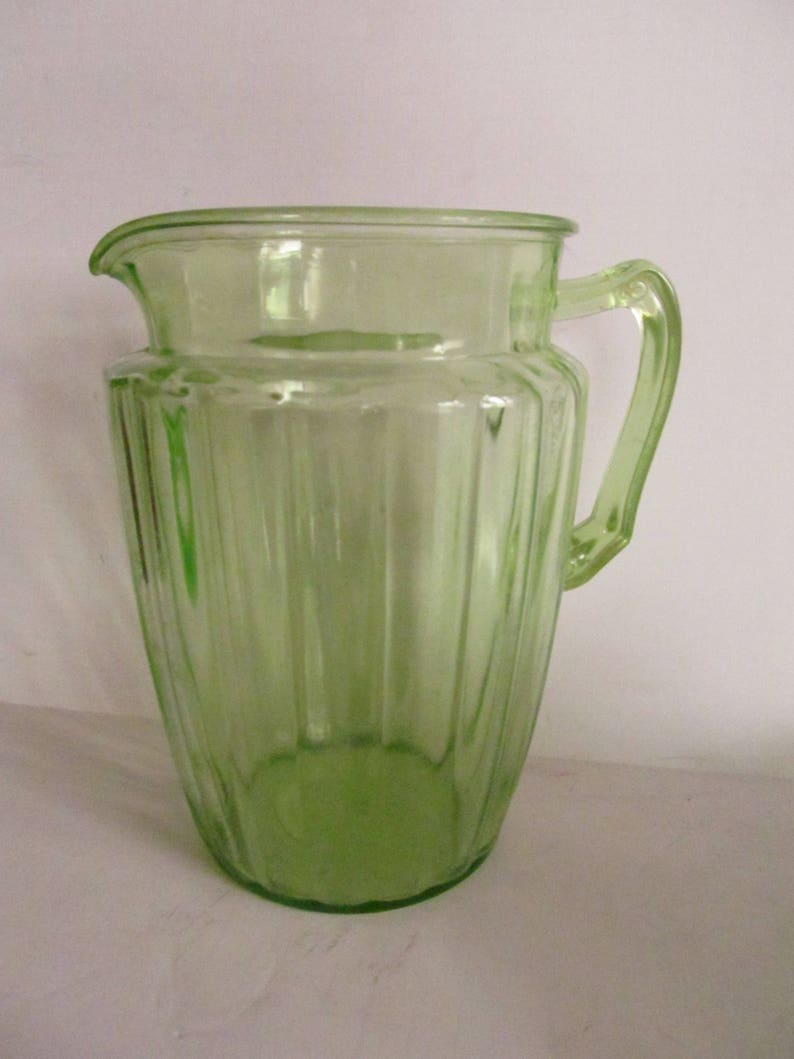8c27bd151e0 Green Depression Glass Pitcher Art Deco Glassware Green