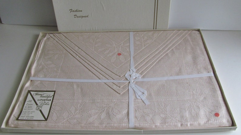 Vintage NEW Belgium Linen Placemats and Napkins Box set Linen Napkins Vintage Table Linens Wedding Linen gift Idea Home Warming Gift