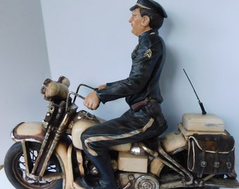 XL Large Pistol Packing Policeman on Motorcycle Statue Motorcycle Police Man Motorcycle Bagger Gift for Him Motorcycle Enthusiest Gift Man