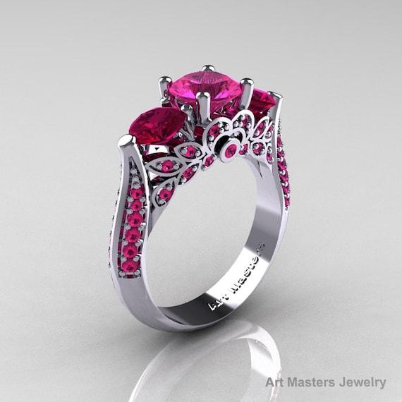 ce9d62c3d0d3f Classic 14K White Gold Three Stone Pink Sapphire Garnet Solitaire Ring  R200-14KWGGPS