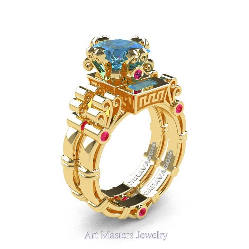7f65031f14149 Art Masters Caravaggio 14K Yellow Gold 1.5 Ct Princess Blue Topaz Pink  Sapphire Engagement Ring Wedding Band Set R627S-14KYGPSBT