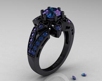 Art Deco 14K Black Gold 1.0 Ct Alexandrite Wedding Ring, Engagement Ring R286-14KBGAL