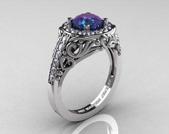 Italian 14K White Gold 1.0 Ct Color Change Alexandrite Diamond Engagement Ring Wedding Ring R280-14KWGDAL