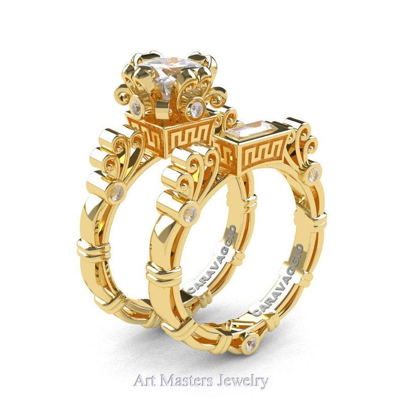 9af40963a589c Art Masters Caravaggio 14K Yellow Gold 1.5 Ct Princess White Sapphire  Diamond Engagement Ring Wedding Band Set R627S-14KYGDWS