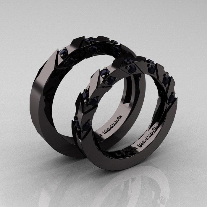Italian Bands: Modern Italian 14K Black Gold Black Diamond Wedding Band
