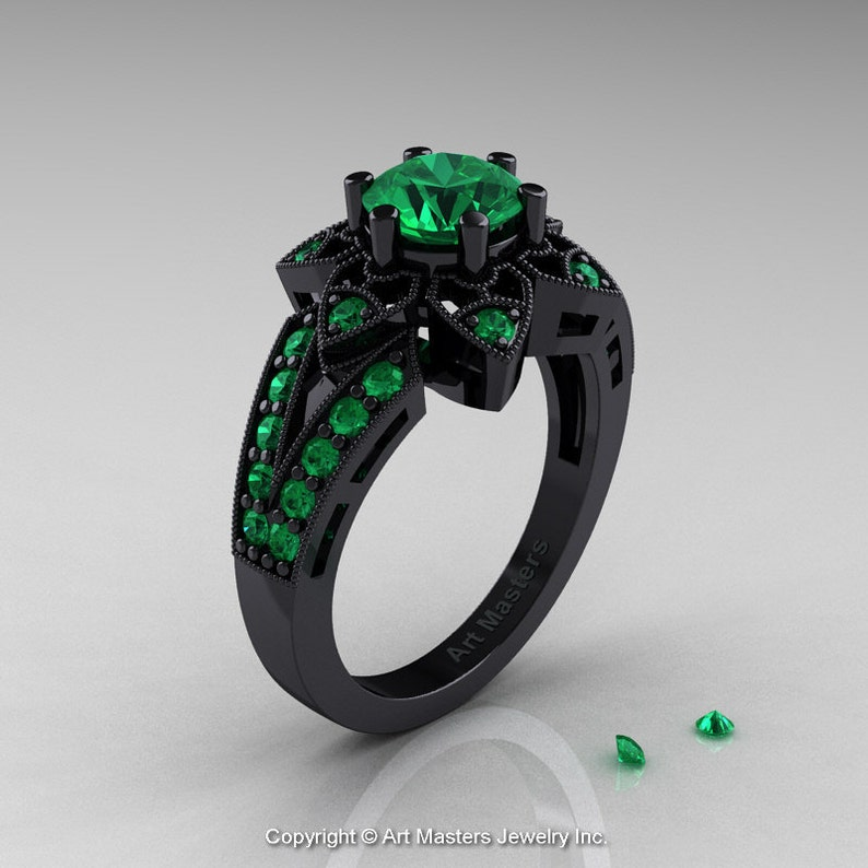 5a3023cb0037e Art Deco 14K Black Gold 1.0 Ct Emerald Wedding Ring, Engagement Ring  R286-14KBGEM