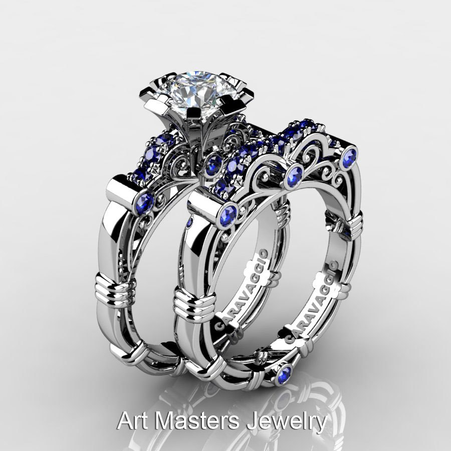 9016cbd8633988 Art Masters Caravaggio 10K White Gold 1.0 Ct White and Blue | Etsy
