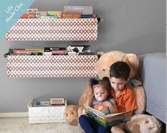 Book Sling Bookshelf Tribal Print BlackGray MintApricot Coral Modern Kids Homeschool Accessory Reading Nook