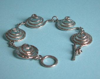 Beautifully handcrafted heavy beaten 925 silver Bracelet/Scrolled/Hallmarked