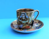 Beautiful vintage 1920 39 s Japanese Cup and Saucer Hand Painted Fine Porcelain Cup Collectible