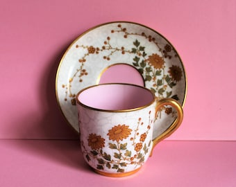 Rare Antique Royal Worcester Demitasse Cup and Saucer/Hand Painted/ 22k Gold Accentuated