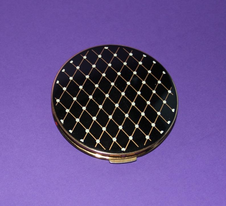 Dramatic Vintage Stratton Brass Ceramic Powder CompactBlack and white diagonal patternOriginal Sifter