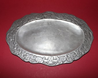 Very Rare Decorative Antique Small Pewter Platter