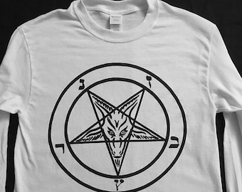 PENTAGRAM White Long sleeve T shirt with Black print- witchcraft Satanic occult Clothing