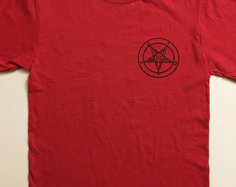73d94ad8cfa6 Pentagram T shirt Pocket Print in RED w/ Sigil of Baphomet Witchcraft Satan  Wicca mens horror Satanic clothing Great gift for an evil person