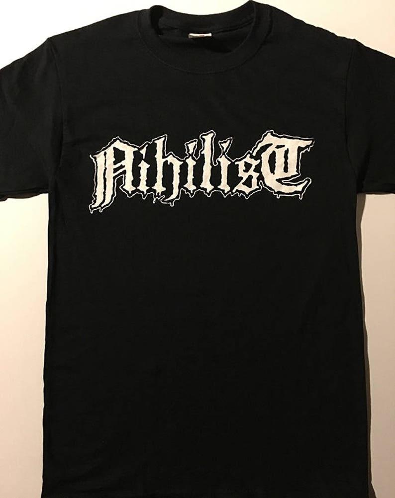 ef9979f3052a NIHILIST Logo T shirt Swedish Death Metal with old school art   Etsy