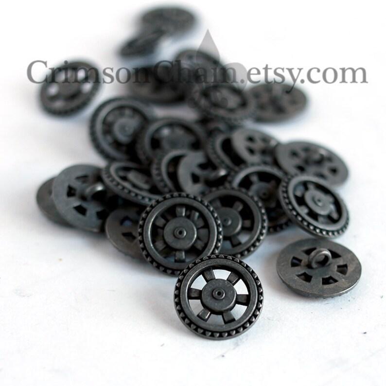 Antique Silver Sprocket Wheel From Crimson Chain Leatherworks Steampunk Buttons