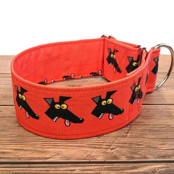 greyhound collar sighthound collar red fabric dog collar Richard Skipworth martingale collar or buckle whippet collar  Derp red