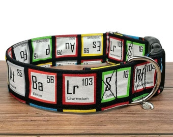 """science dog collar periodic table, black boy martingale or buckle collar 1.5"""" greyhound collar  / the nerd"""