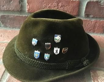 9c6c78f4798f7 Vintage Lederhosen German Green Velour Hat and Pins Oktoberfest
