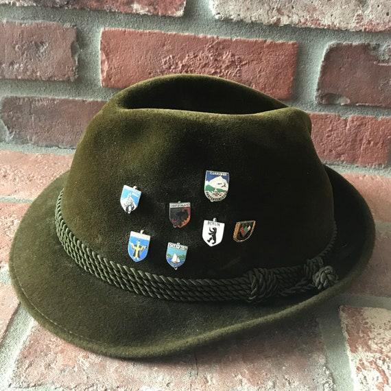 German Green Velour Hat and Pins Oktoberfest