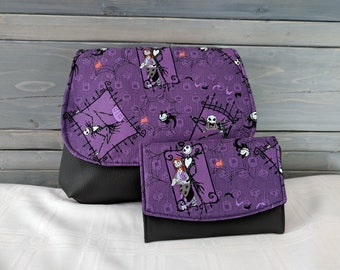 Nightmare Before Christmas, Jack and Sally, KELSI II Cross Body Purse Mini Messenger with Boon Wallet Jack Skellington and Sally Purple