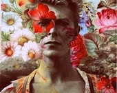 David Bowie in the Flowers Fan Art Collage Fabric Block - Great for Quilting, Pillows Wall Art - Buy 2, Get 1 FREE
