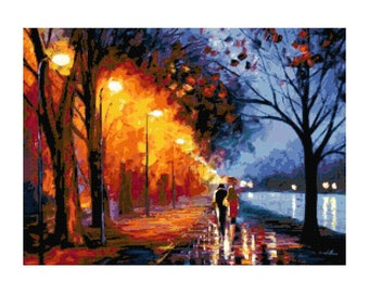 Couple Walking in the Rain Fine Art PDF Cross-Stitch Pattern