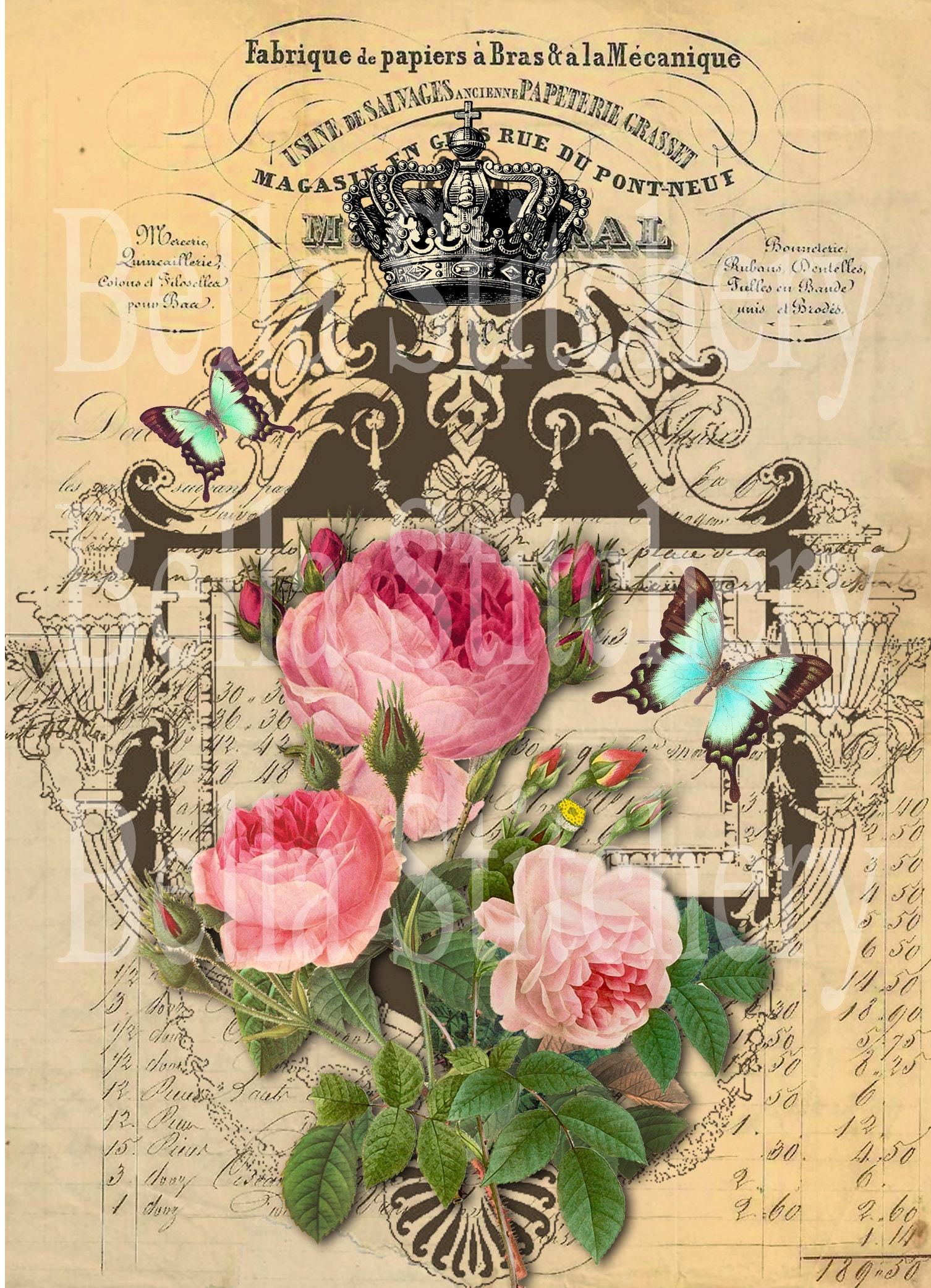 Papillons et shabby Chic Roses Roses Chic Collage #2-8 x 10 tissu bloc - idéal pour le Quilting, oreillers & Art mural - acheter 2, Get 1 FREE e9d660