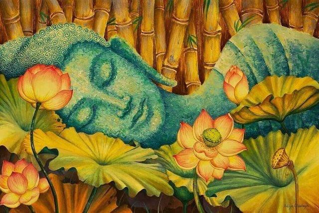 Sleeping Bouddha et fleurs 8 x 10 tissu bloc bloc tissu - idéal pour Quilting, oreillers & Art mural - acheter 2, Get 1 FREE 44102b