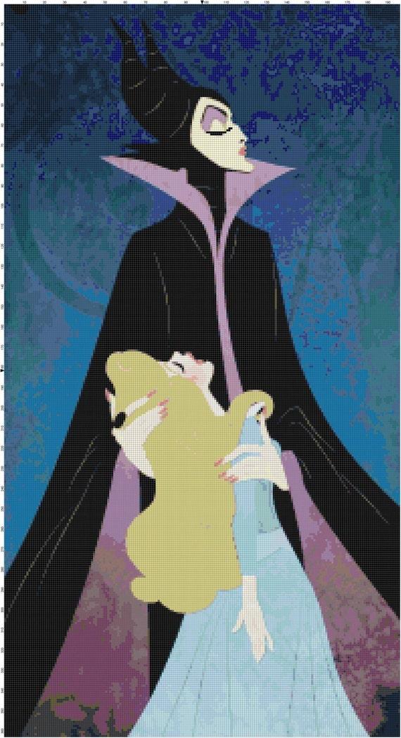 Maleficent And Sleeping Beauty Fan Art Pdf Cross Stitch Pattern