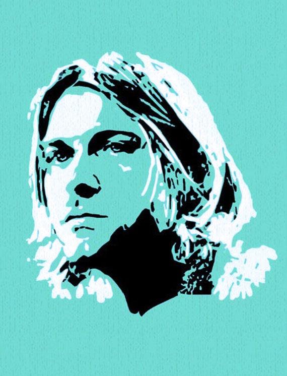 Kurt Cobain abanico arte silueta 8 x 10 tela Block varios   Etsy