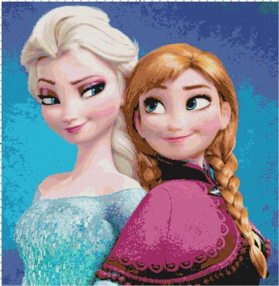 Frozen Anna And Elsa Handmade Fan Art Pdf Cross Stitch Pattern Etsy