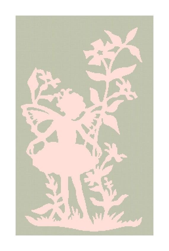 Fairy Girl in Flowers Silhouette DIGITAL Counted Cross-Stitch Pattern Chart