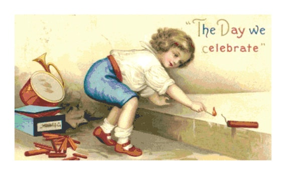 Retro 4th of July Child w Fireworks DIGITAL Counted Cross Stitch Needlepoint