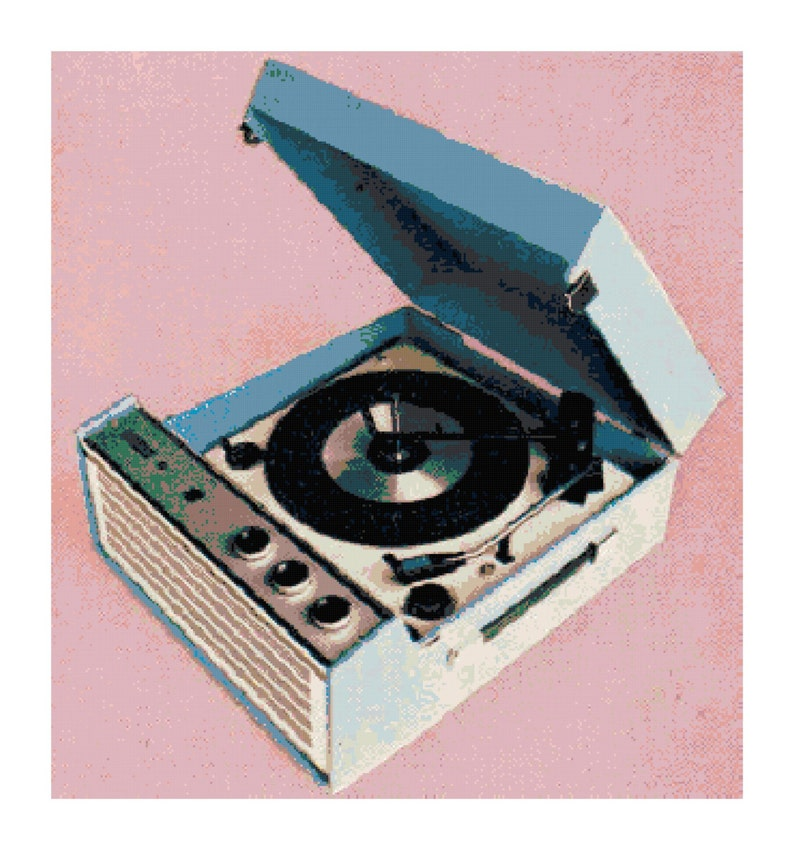 Vintage Retro Record Player Turntable PDF Counted Cross-Stitch Pattern