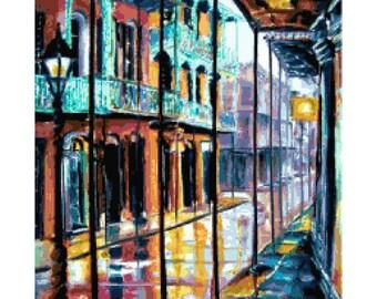 Handmade PDF Cross-Stitch Pattern of Royal Street in New Orleans