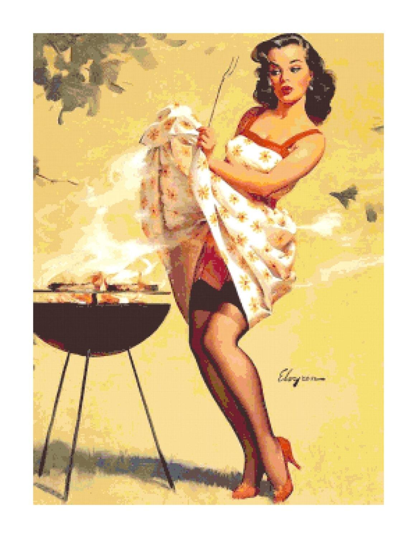 Retro Vintage Pin-Up Girl w. BBQ PDF Cross-Stitch Pattern