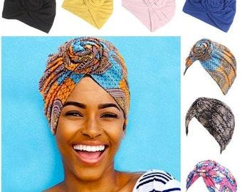 PRE-TIED TURBAN  Headwrap beanie  chemo gift  Wax print Head wrap   Ankara headscarf   chemo hat  alopecia cap