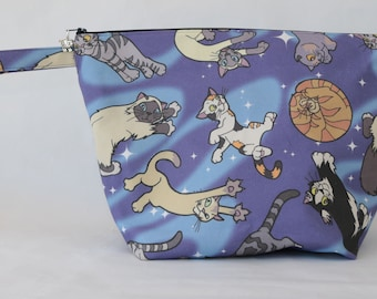 Sweater knitting bag | sweater storage bag | large project bag | cats project bag | zipped bag
