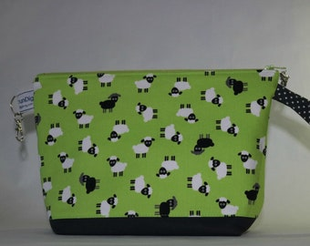 Small zipped wedge knitting crochet project bag scattered sheep