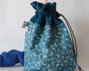 Knitting project pouch | Dolphins project bag | Crochet project bag | Sewing bag | Yarn storage bag | Knitting project bag