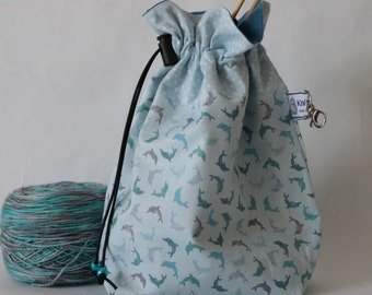 Knitting project bag | Dolphins project bag - pale blue | Crochet project bag | Sewing bag | Yarn storage bag | Knitting project pouch
